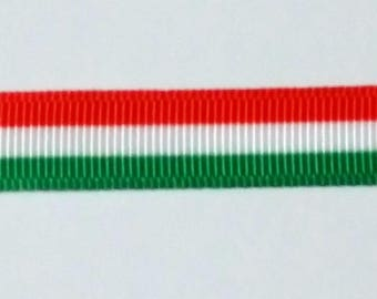 3 Stripped Coloured Ribbon - Red - Green-White -1 Yard