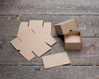 Small 60 x 60 x 40 mm Kraft Cardboard Brown Package Box (10 Pcs/Lot) for Cufflinks, Earrings, Necklace, Ring, Jewelry, Soap, beard oil
