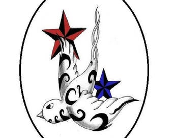 30x40mm, swallow and stars tattoo style