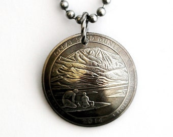 Quarter Coin Necklace, U.S. Quarter Dollar Pendant, Great Sand Dunes National Park, Colorado, America the Beautiful, 2014 Jewelry Hendywood