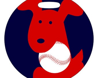 Luggage Tag - Baseball Team Pup Customize With Your Teams Colors - Round Plastic Bag Tag