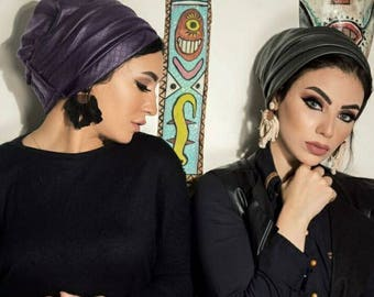 Two pieces leather turban hat