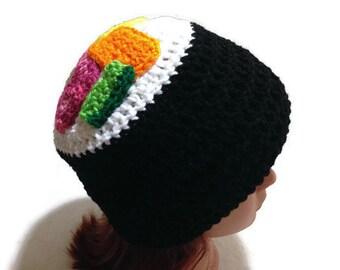 Sushi Hat, Sushi Roll Beanie, Kawaii Sushi Hat, Crochet Novelty Hat, Sushi Cosplay, Tuna Sushi Roll, Sushi Beanie, Kawaii Sushi, Food Hat