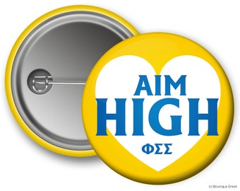 PhiSig Phi Sigma Sigma Motto Sorority Greek Button