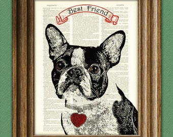 BOSTON TERRIER dog beautifully upcycled vintage dictionary page book art print PERSONALIZED