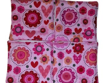 Quilted Coaster Set, Heart Coaster Set, Fabric Drink Coaster, Drink Coaster, Beverage Coaster, Hostess Gift, Pink Coaster, Handmade Coasters