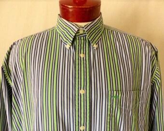 Tommy Hilfiger vintage 90's vertical stripe collar shirt pastel lavender mint green navy blue white embroidered griffin crest logo button up