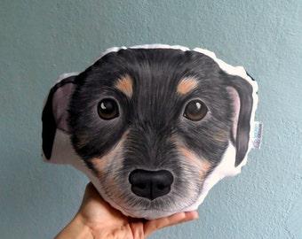 Dog Pillow, Dog Head Plush Pillow, dog portrait throw pillow