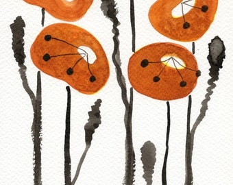 Watercolor Painting: Watercolor Flower Painting -- Art Print --  Orange Poppies -- 5x7