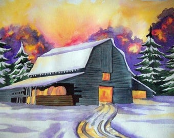 Barn in snow painting print