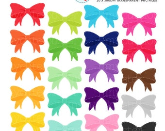 Stitched Bows Clipart Set - clip art set of rainbow bows, stitched bows clipart, bows - personal use, small commercial use, instant download