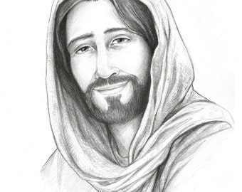 Drawing of Christ, Sketch of Jesus, Religious Art, Savior of the World, Pencil sketch, Christian, LDS, Mormon