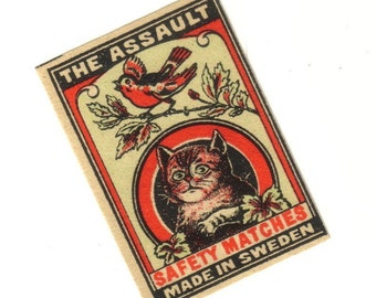 Antique 1910s THE ASSAULT Match Label Cat On Bird