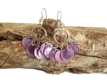 Coins and pearl purple earrings