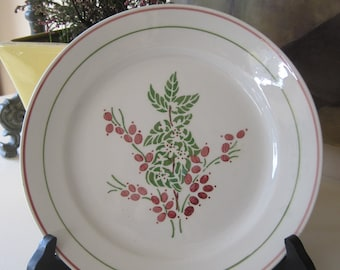 French Plate K & G Luneville France Hand Painted Faience Vintage Pinks Greens