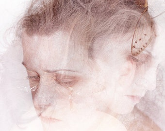 The Good and The Bad - FREE SHIPPING Surreal Photo Print Portrait Cicada Bug Double Exposure Cream Pink Brown Light Bright Twins Creepy Art