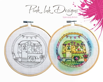 Caravan embroidery hoop pattern, gift for crafter.