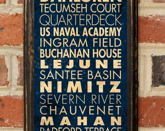 US Navy Midshipmen Points of Interest Wall Art Sign Plaque Gift Present Home Decor Vintage Style USNA Sailor Naval Academy Football Antique