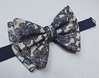 Navy blue and tan tuxedo bow ties for men,jumbo,oversized bow ties for men,wedding,lace bow ties for men