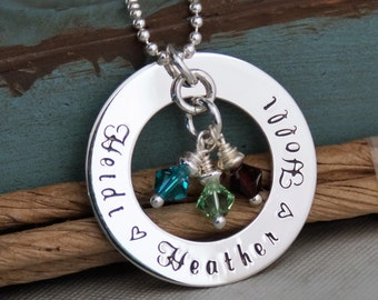 Hand Stamped Mommy Necklace - Personalized Jewelry - Sterling Silver Necklace - Family Circle of Love with birthstones
