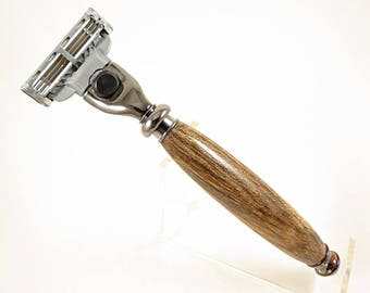 Razor Handle, Mach3, Shaving Handle, Shaving Razor, Gillette, Groomsmen Gift, Spalted Hackberry with Black Titanium Hardware