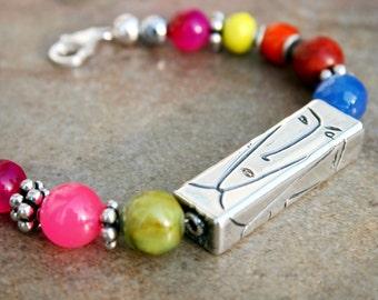 IRIS Multi-gem stone and Sterling Bracelet