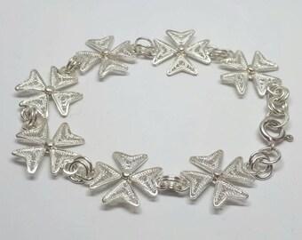 Maltese Cross Bracelet, Filigree Maltese Cross Bracelet, Malta Gift, Malta Cross Bracelet, Silver Filigree Maltese Cross Bracelet,