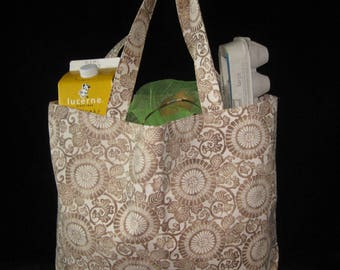 Japanese Stylized Floral Design Heavy Duty Grocery Market or Equipment Tote