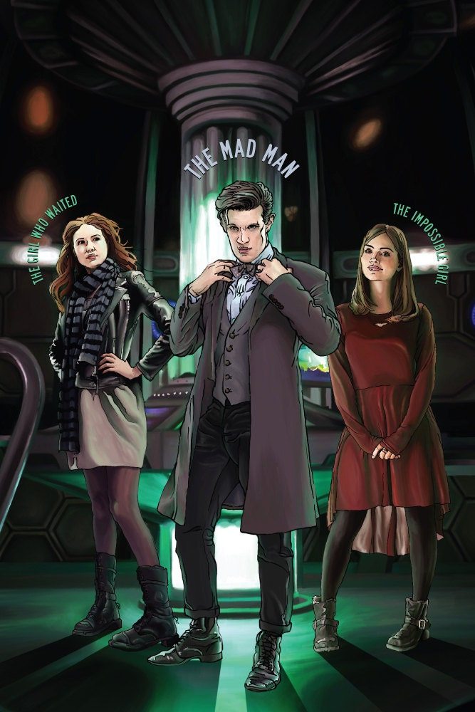 "Doctor Who - The Eleventh Doctor, Amy and Clara - 12 x 8"" Digital Print"