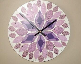 NEW! Original Art Wall Clock 10-Inch, SILENT Purple Dahlia Clock, Floral Clock, Hand Painted Clock, Unique Wall Clock - 2202