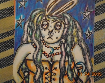 Original Artist Trading Card Psychedeliic Alien Space Bunny Goddess Drawing Colored Pencil and Pen