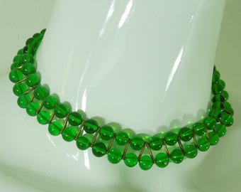 1930s French Green Poured Glass Choker Necklace Dark Goldtone Metal Mounted 2 Rows