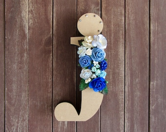 Floral Decorated Wooden Letter - lowercase j / wall nursery birthday wedding office decor