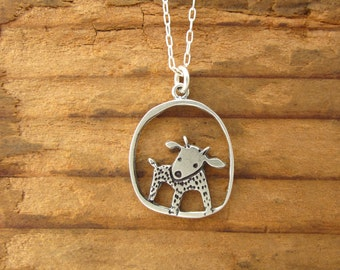 Sterling Minature Goat Necklace - Silver Goat Pendant