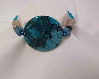 Essential Oil Diffuser Bracelet of Turquoise & Lava Rocks with Glass and Silver Accents