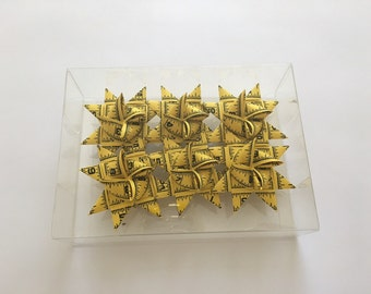 German Paper Origami Star Ornament Sculpture (3 inch, Yellow Measuring Tape)