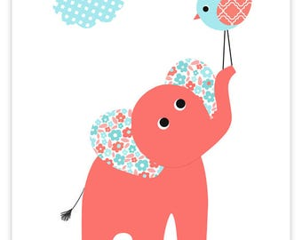 Aqua and Coral Nursery, Elephant Nursery Decor, Girl's Bedroom Decor, Elephant Print, Canvas Nursery Art, Toddler, Baby Shower Gift Children