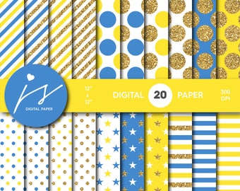 Yellow and Blue gold glitter digital paper, Patterns, Backgrounds, Blue and Yellow glitter gold digital scrapbooking, MI-760