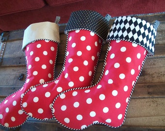 Three (3) Amazing Red with White Dots Whimsical Designer Christmas Stockings 2018 Collection