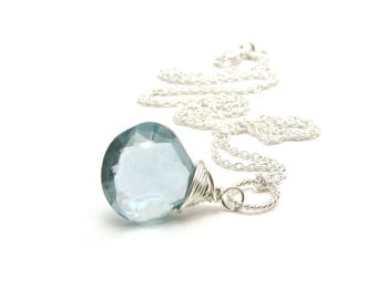 Blue aquamarine necklace, March birthstone jewelry, ice blue aquamarine pendant, sterling silver jewelry handmade, aquamarine jewelry