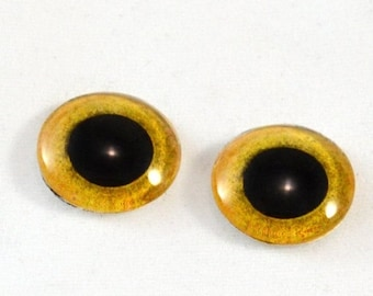 SALE 16mm Yellow Owl Glass Eye Cabochons - Taxidermy Eyes for Doll or Jewelry Making - Set of 2