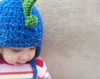 Dragon Hat in Deep End Blue - Animal Hat for Babies, Dress Up, Cosplay, Warm Winter