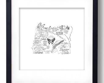 Oregon - Hand drawn illustrations and type