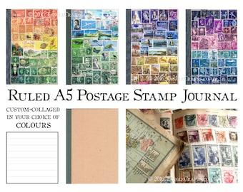 A5 Journal, Ruled Travel Journal | Custom Colours TN Traveler NoteBook Insert | Upcycled Postage Stamp Art Boho world travel gift for writer