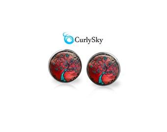 Crimson Studs Tree of Life Stud Earrings Crimson and Blue Studs Blue Tree Stud Earrings Tree of Life Earrings Blue Tree Studs Earrings