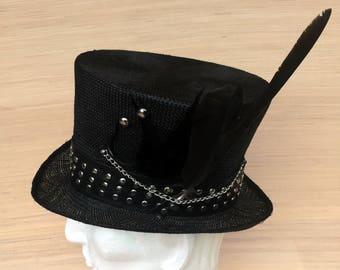 Black Straw Top Hat, Men's Straw Hat, Alice in Wonderland, Mad Hatter Tea Party, Women's Top Hat