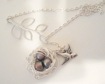 Nest Necklace Mothers Day Necklace Bird Nest Necklace Bird Lariat Silver Nest Mom Child Necklace Bird Jewelry Birdnest Jewelry