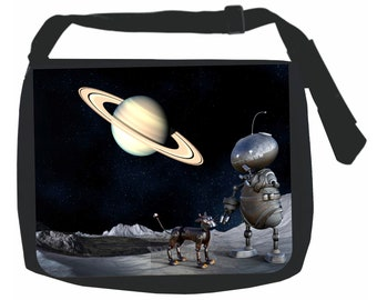 Robot and Dog in Outer Space Galaxy - Black School Shoulder Messenger Bag