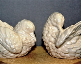 Vintage Doves Couple Wedding Cake Topper in porcelain satin white. For Wedding, Anniversary, bride