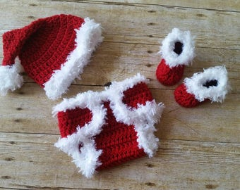 Christmas Baby Outfit, Crochet Baby Outfit, Newborn Santa Outfit, Baby Photo Prop, Newborn Photo Outfit, Newborn Girl Photo Outfit Clothes